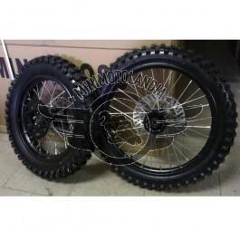 """Coppia Cerchi 17""""-14"""" + Gomme Pit Bike Perno 12mm"""
