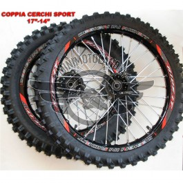 """Coppia Cerchi 17""""-14"""" SDG + Gomme Pit Bike Perno 15mm"""