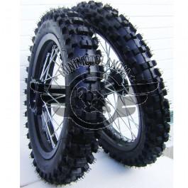 """Coppia Cerchi 12""""-10"""" + Gomme Pit Bike Perno 12mm"""