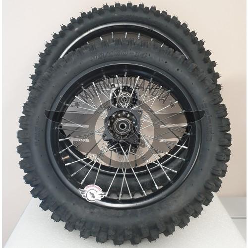 """Coppia Cerchi 17""""-14"""" + Gomme Pit Bike Perno 15mm"""