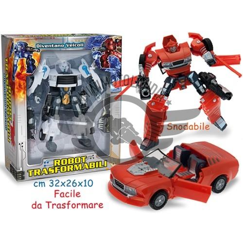 Robot Transformers Bianco Diventa Veicolo Auto Sportiva