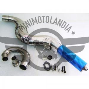 Marmitta Racing Jet Pro Blu Con Espansione Minimoto 49cc