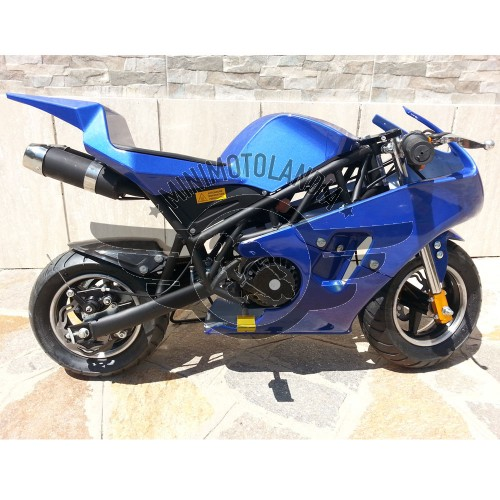 Minimoto GP2 Raffreddata Aria Motore 49cc Blu