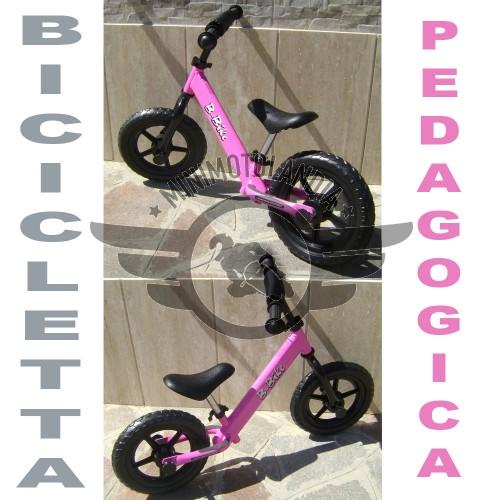 Bicicletta Rosa Senza Pedali Pedagogica Equilibrio Bambini