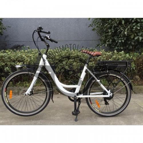 Bicicletta Elettrica 36v Batteria a Litio 11 Ah Shimano Bianco