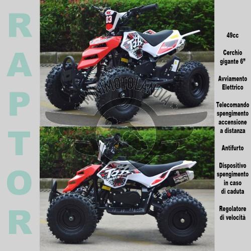 """Miniquad Raptor 49cc Cerchio 6"""" Con Avviamento Elettrico"""